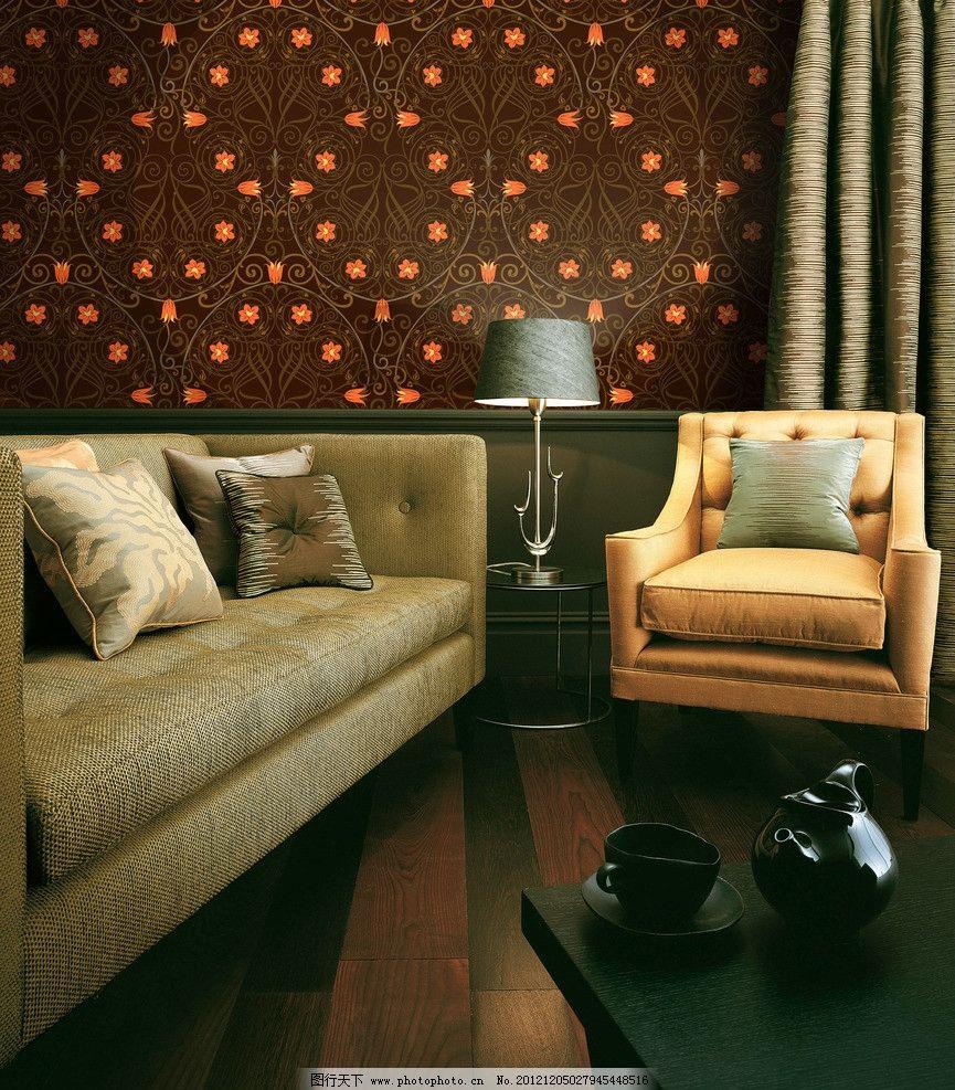 墙纸图片,室内 效果图 花纹 欧式 花朵 棕色-图行天下