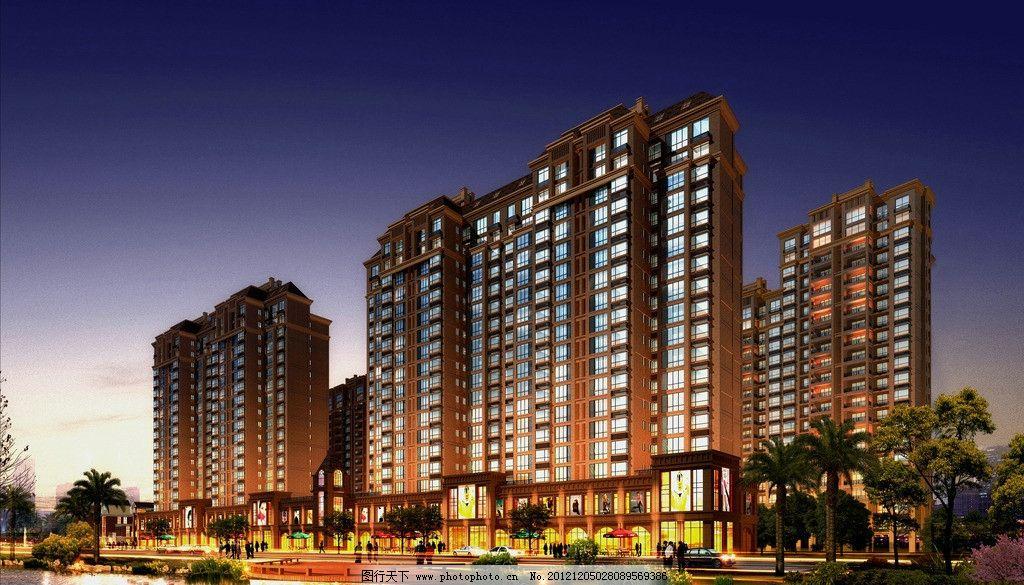 沿街夜景透视图 效果图 欧式 住宅