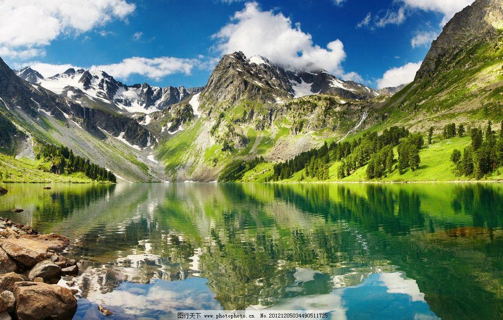 蓝天 白云 山脉 湖水 河水 倒影 清澈 山川 清波 风景 山水风景 自然