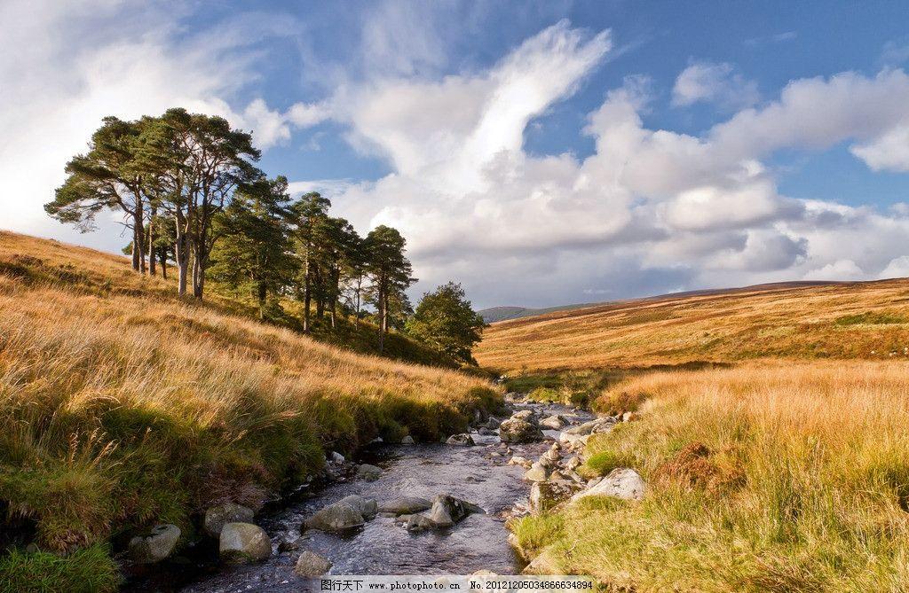 秋色 秋天 树林 落叶 荒原 湖水 小河 草地 蓝天 白云 自然风光 自然