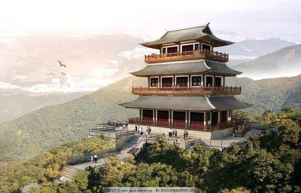 楼阁鸟瞰 楼阁 鸟瞰 景观 古代 风景 建筑 建筑设计 环境设计 设计 72