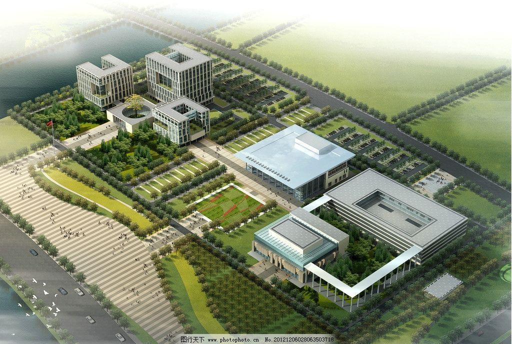 崇明县行政中心鸟瞰图 办公楼 鸟瞰图        总体规划 建筑设计 景观