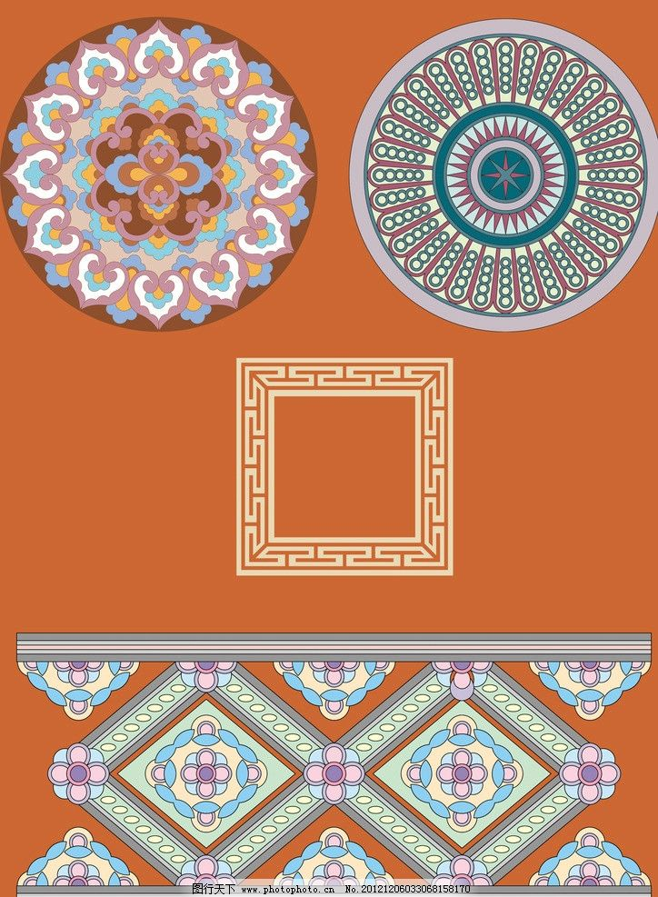 古典圆形装饰纹样 古典装饰边框