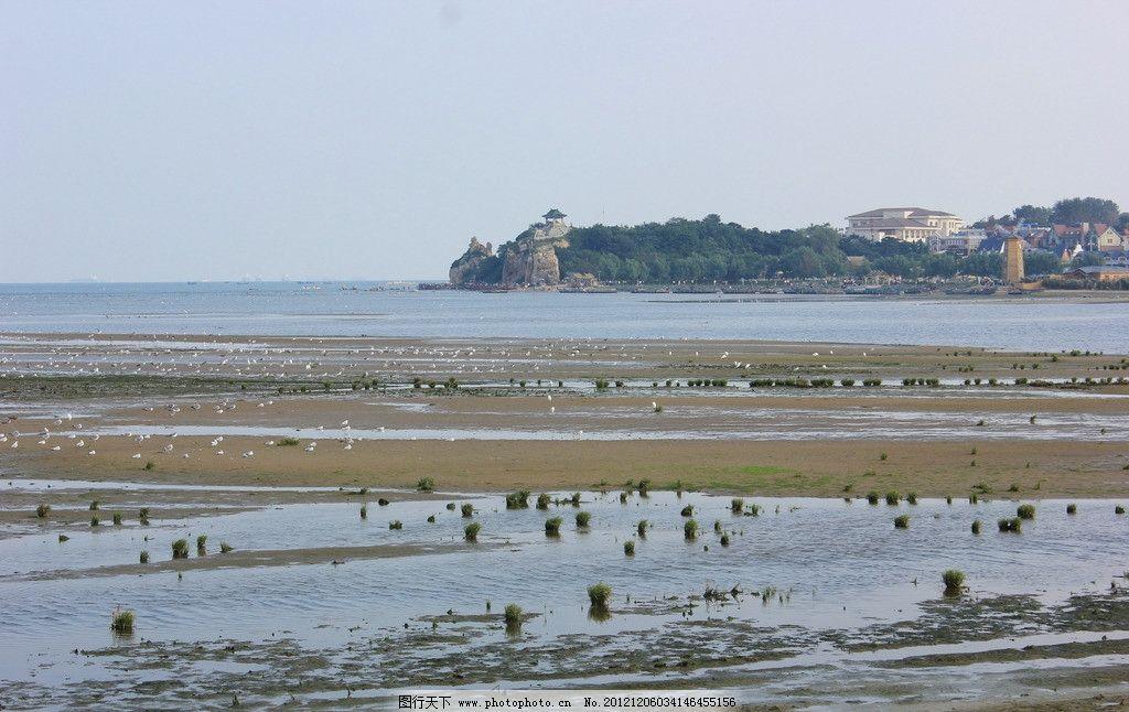 远观鸽子窝 北戴河 观鸟湿地 退潮 海鸥 蓝天 鸽子窝景区 自然风景