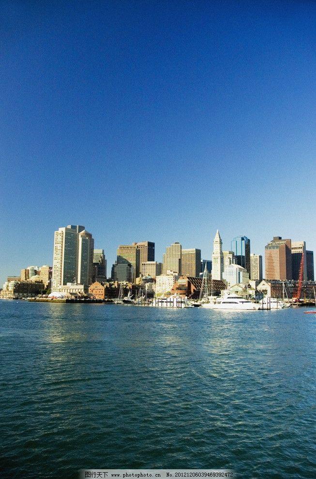 摄影图库 建筑园林 建筑摄影  城市高清图片 蓝天 白云 美国城市 摩天