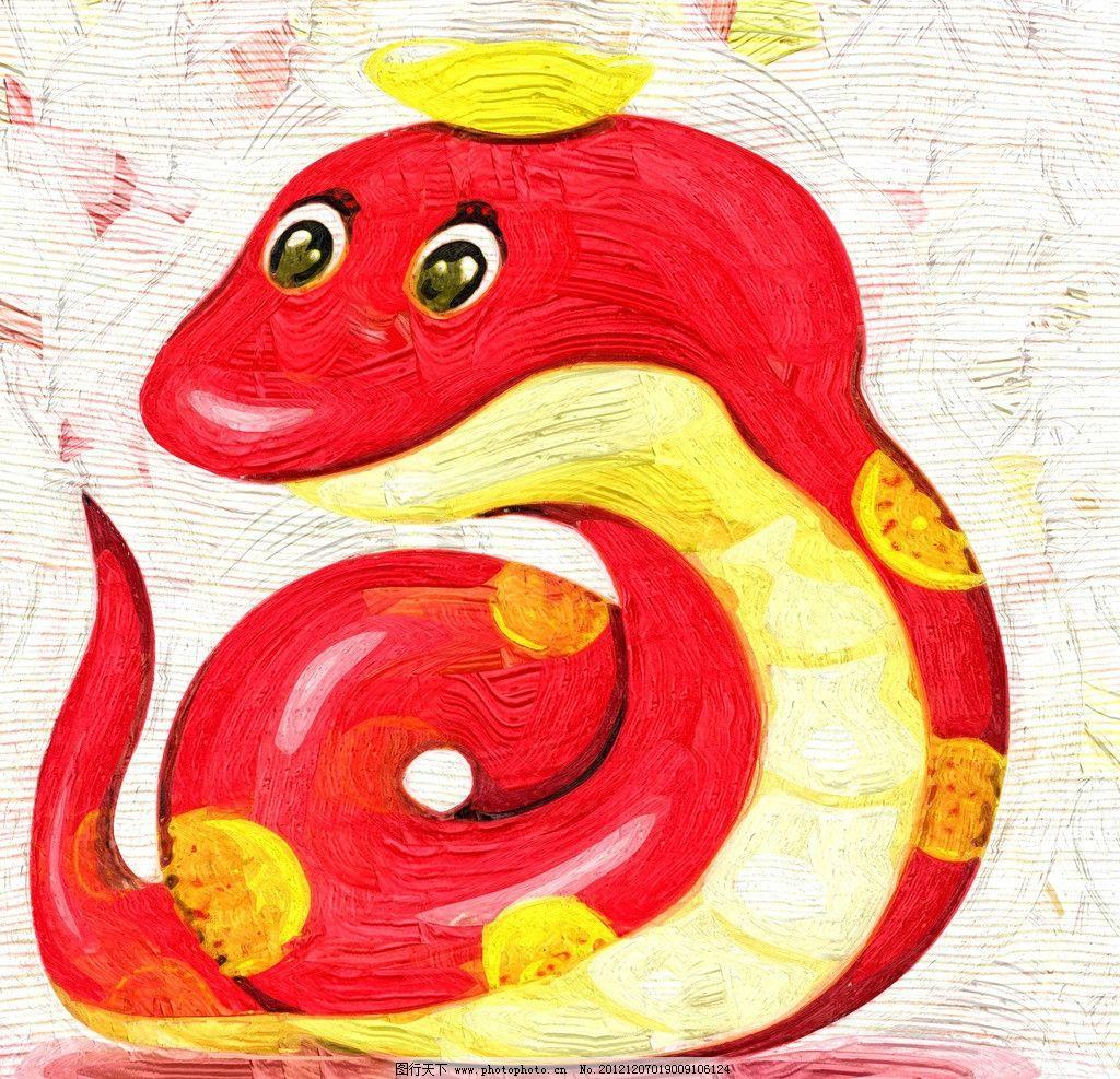小蛇 油画 装饰画 无框画 手绘 绘画 红色 蛇 动物 儿童画 卡通画