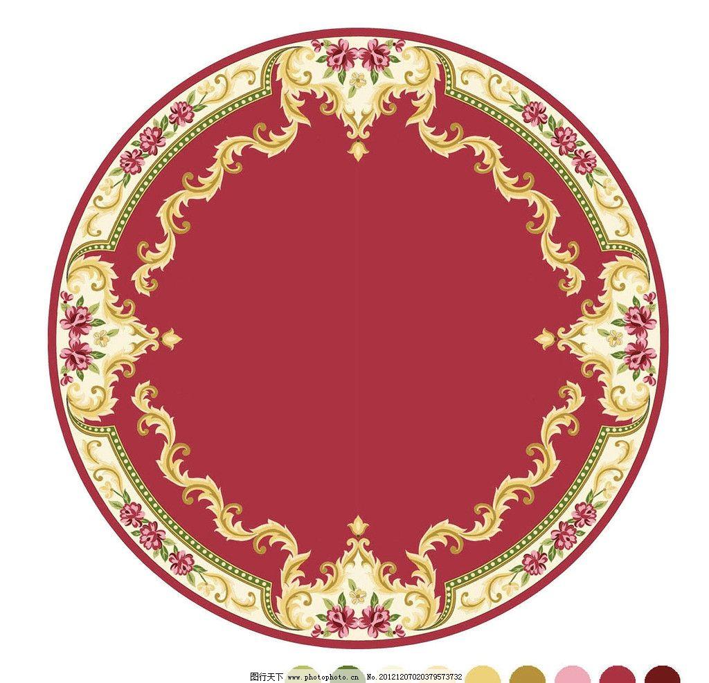 圆形地毯 中式 风格 地毯 红 色地毯 圆毯 装饰地毯 花边花纹 底纹