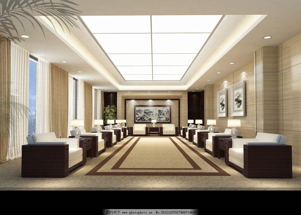 接待室 中式沙发 发光灯膜 地毯 米黄石材 装饰柱 吊顶图片