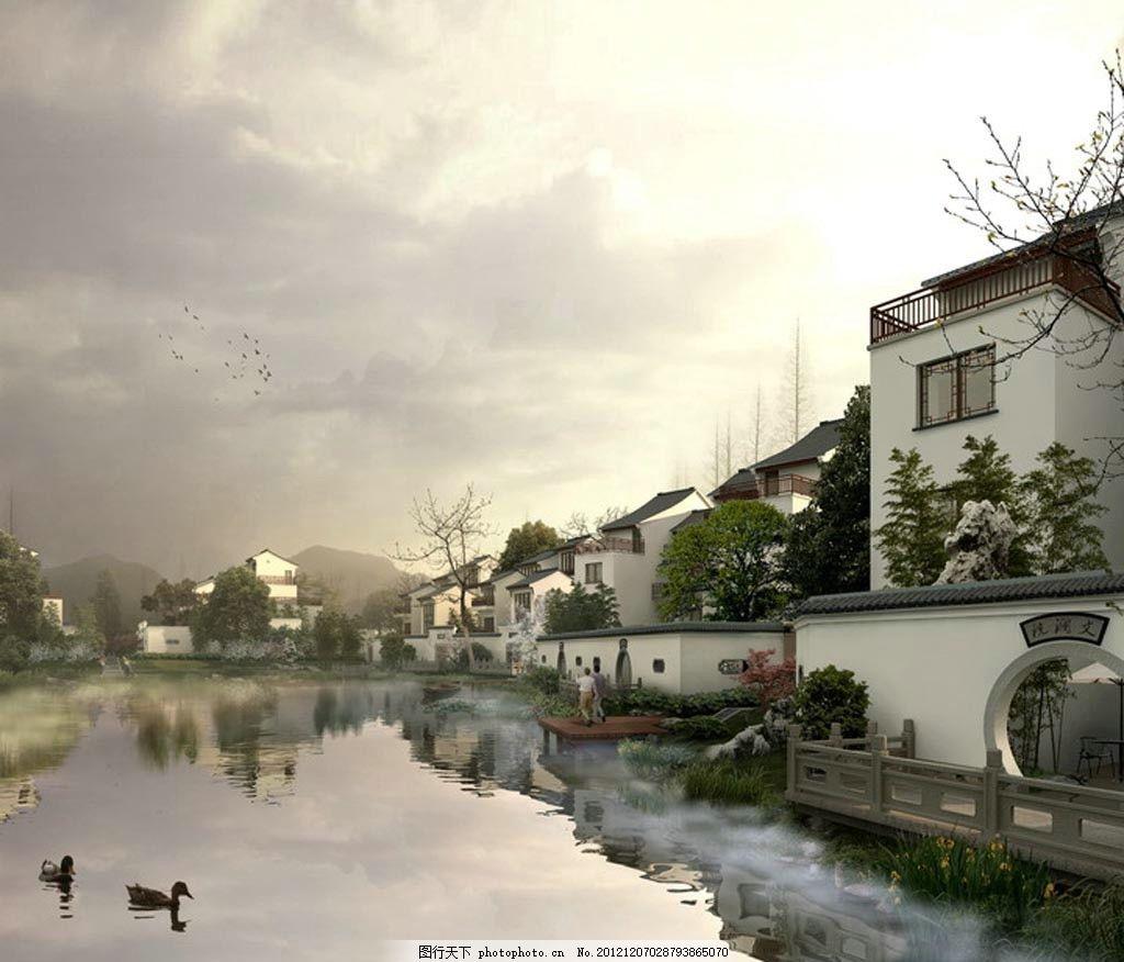 设计图库 环境设计 园林设计  中式古典园林别墅景区 中式古典别墅