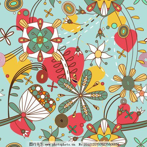 矢量可爱彩色手绘花卉素材