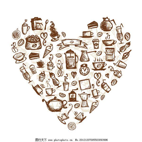 餐具 茶具 复古 美食 矢量素材 手绘 心形 复古 手绘 餐具 茶具 美食