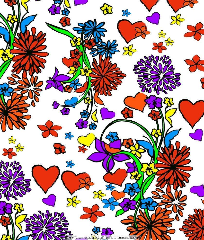 花纹 花朵 花藤 桃心 叶子 底纹 花边花纹 底纹边框 设计 72dpi jpg