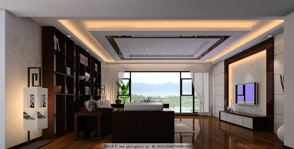 中式客厅设计效果 实木地板 灯带 背景墙 木质沙发 窗帘 柜子图片