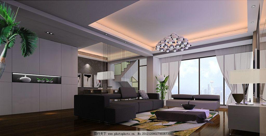 客廳設計效果 裝飾柜子 咖啡色沙發 掉線吊燈 燈帶 白色柜子 實木地板