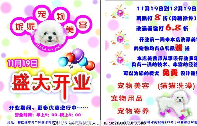 宠物美容宣传单 狗狗 狗狗头像 盛大开业 优惠活动 底纹 气球 dm宣传
