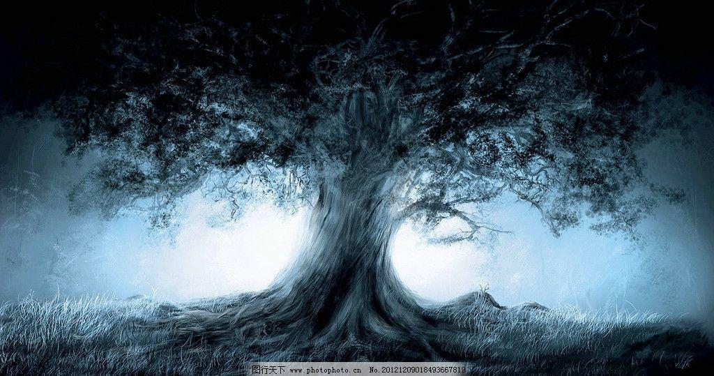 诡异老树 诡异 奇幻 枯树 大树 白光 梦幻 梦境 风景漫画 动漫动画