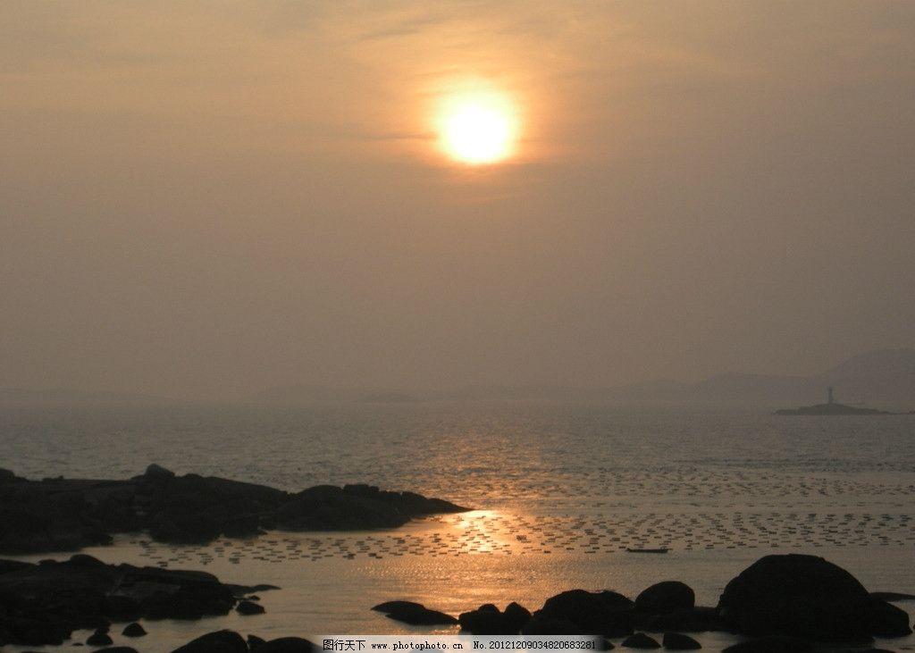 夕阳 落日 海边 自然风景 自然景观 摄影 300dpi jpg
