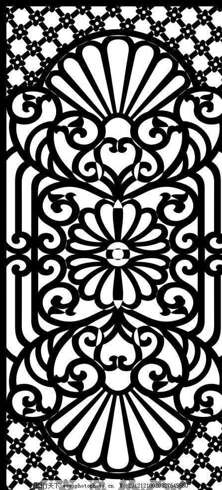 镂空雕花屏风 镂空 雕花 屏风 黑色 复古 花纹花边 底纹边框 矢量 cdr