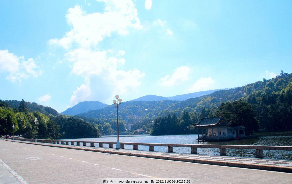 山水 青山 绿水 白云 小桥 山水风景 自然景观 摄影 72dpi jpg
