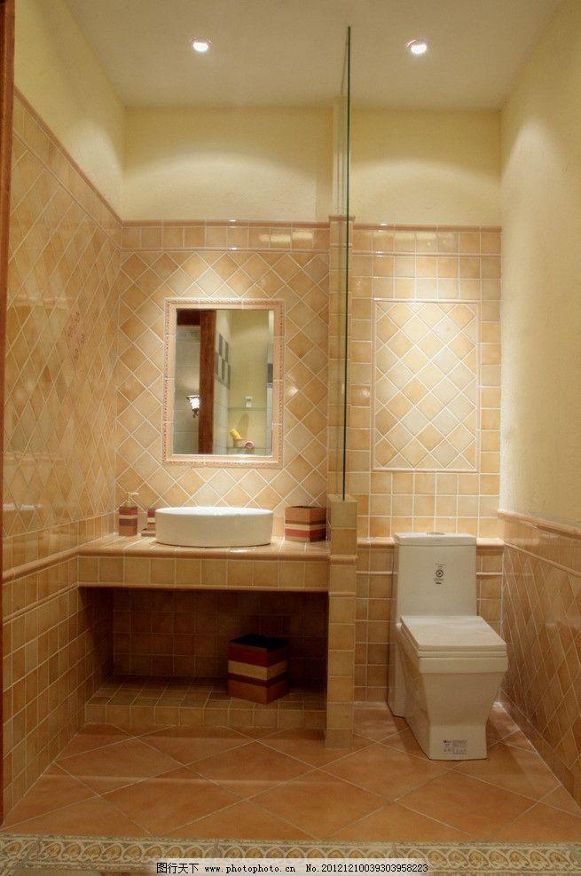 卫生间 厕所 马桶 洗脸池 镜子 瓷砖 欧式风格 室内摄影 建筑园林
