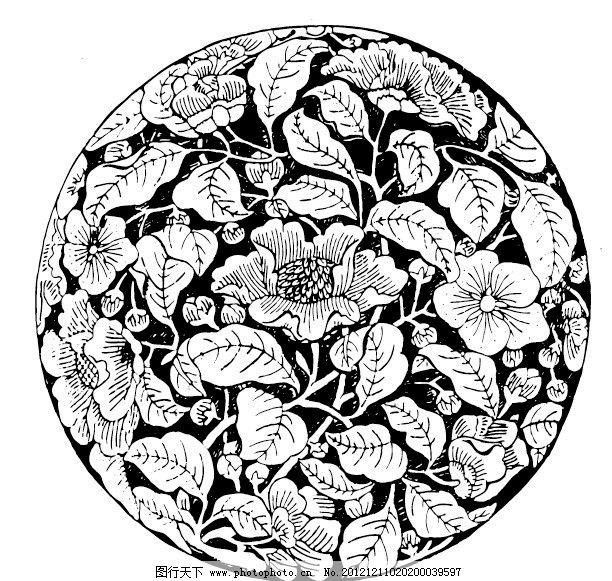 圆形图案 花卉系列 吉祥纹样 茶花图片