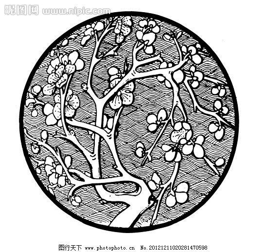 圆形图案 花卉系列 吉祥纹样 梅花 花 花纹花边 底纹边框 圆形图案