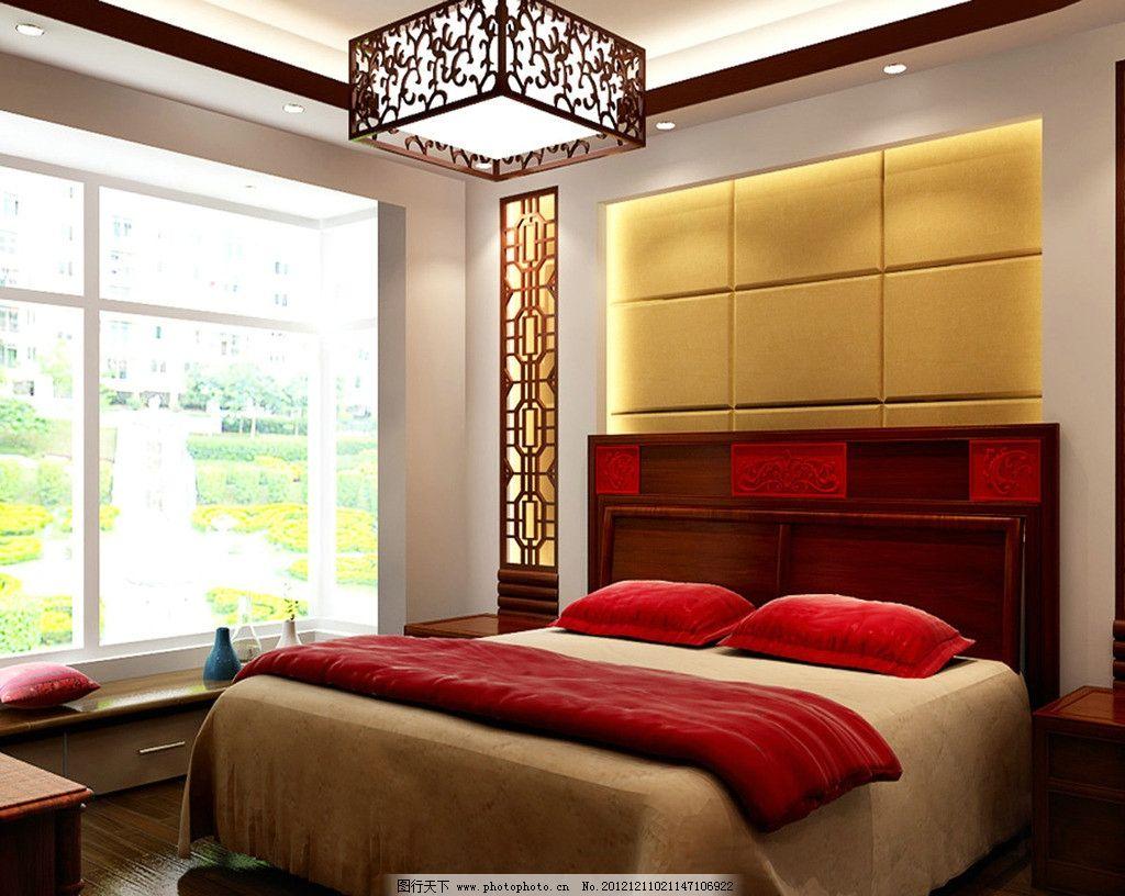 中式      设计图        床头背景 踏踏米 四房二厅中式设计方案 3d