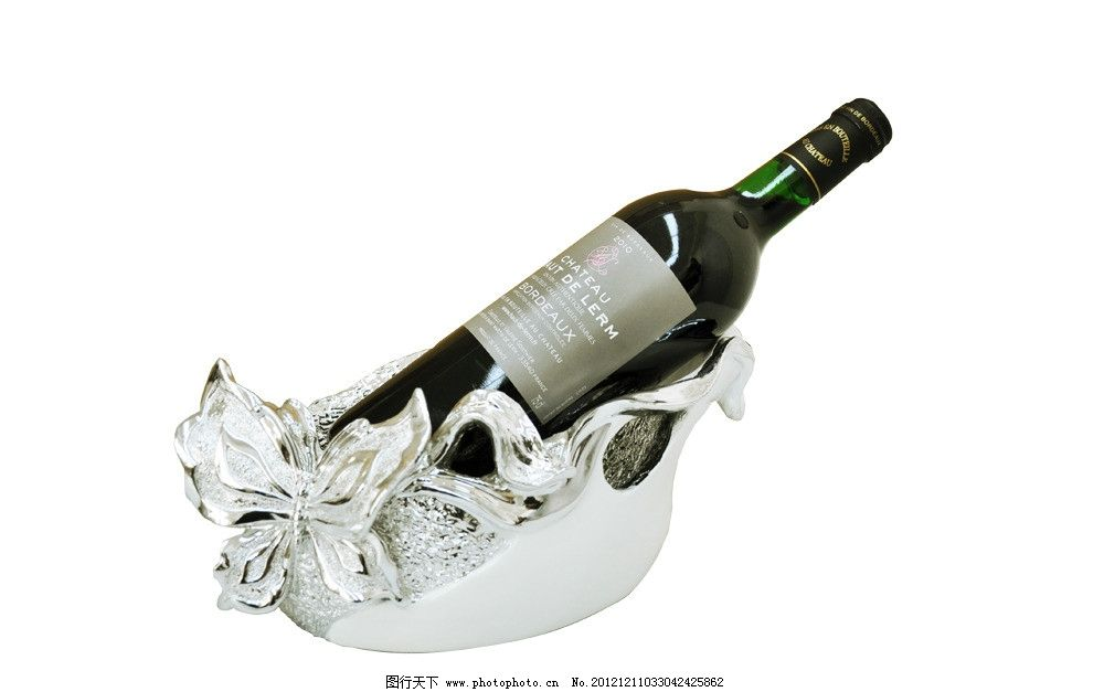 欧式银色雕花红酒架图片