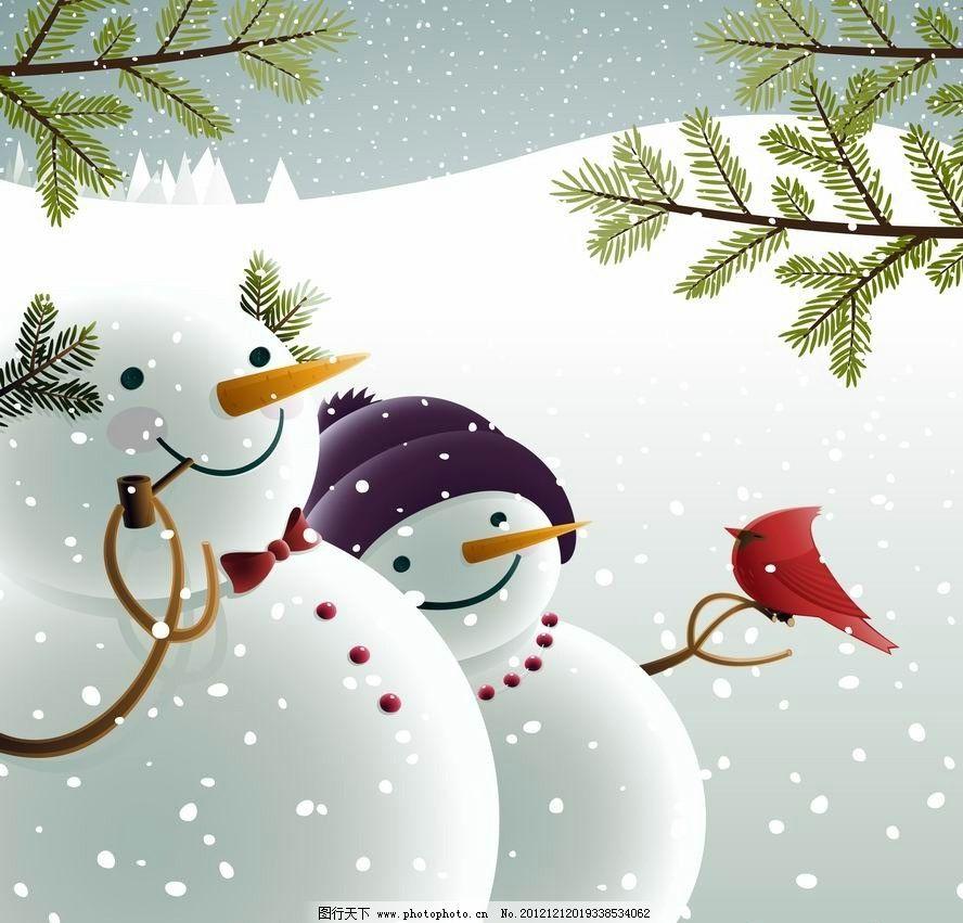 卡通雪人小鸟 可爱 树枝 雪地 圣诞 表情 卡片 时尚 梦幻 手绘