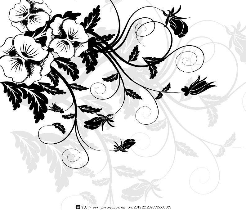 牵牛花 花纹花边 花藤花蔓 移门图案 花朵花卉 时尚 简洁 黑白素材
