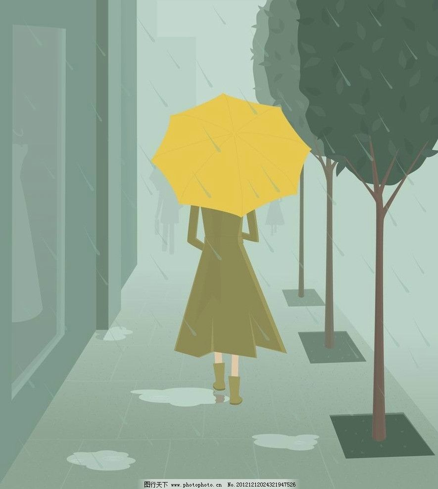 卡通雨天美女背影图片