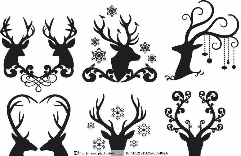 梅花鹿花纹 梅花鹿 小鹿 花纹 爱心 装饰 设计 剪影 矢量 动物主题