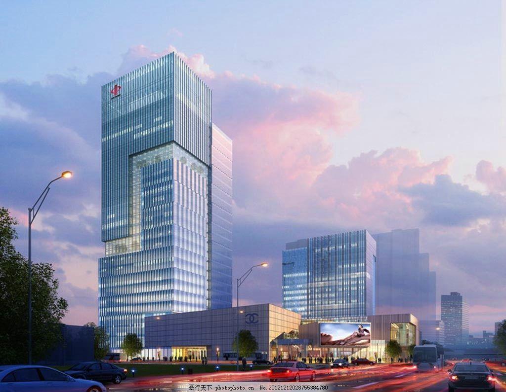城市商业中心夜景效果图 消费广场 抽象建筑 商业建筑 写字楼 科技