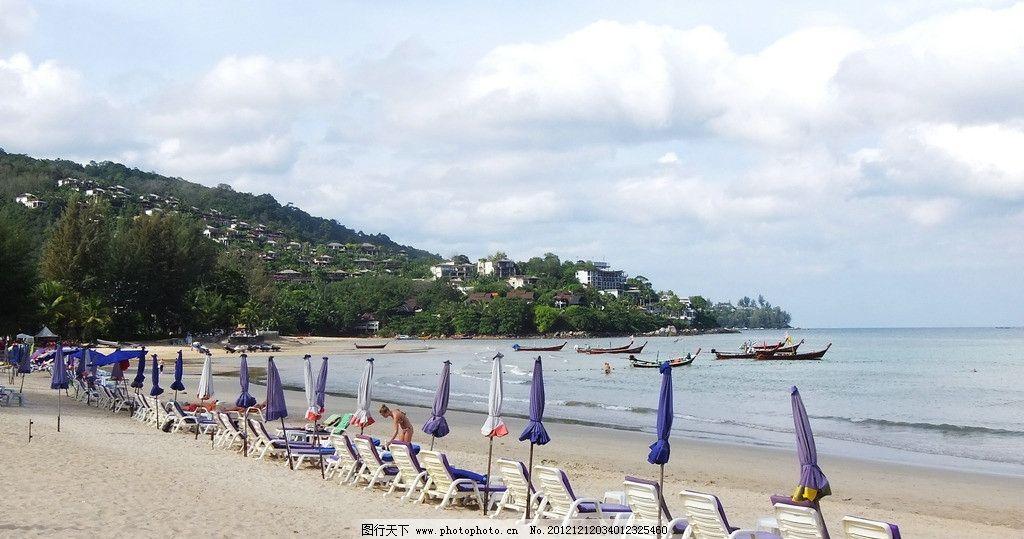 泰国风情 泰国旅游 东南亚风景 唯美风景 蓝天 白云 快艇 绿水 绿树