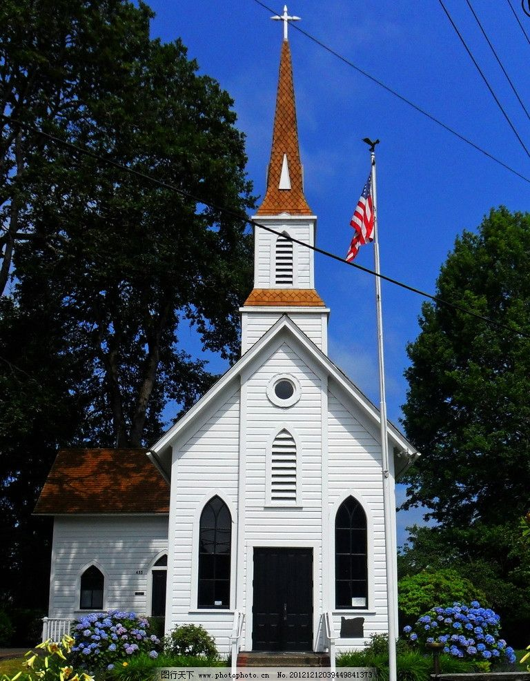教堂 十字架 美国国旗 宗教 信仰 建筑摄影 建筑园林 摄影 96dpi jpg