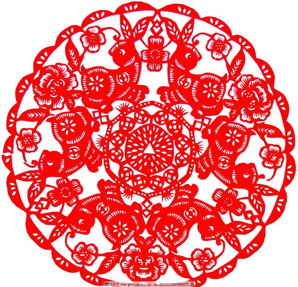 兔子剪纸囹�b_剪纸 兔 红色 圆形 花边 兔子