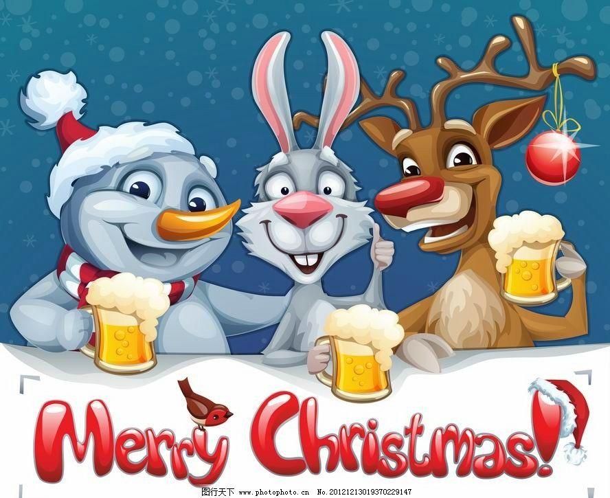 卡通动物圣诞背景 卡通 动物 梅花鹿 兔子 雪人 啤酒 干杯 可爱 时尚