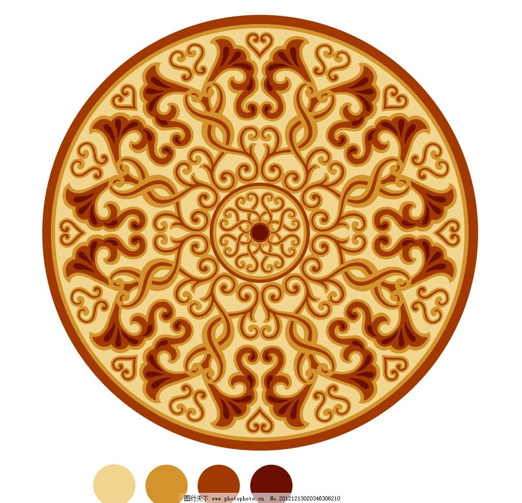 新古典 圆形 花纹 地毯 中式风格 地毯素材 花边花纹 底纹边框 设计