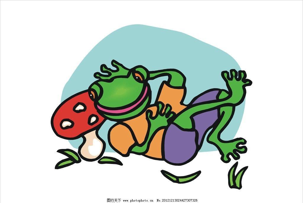 绿色青蛙 小蘑菇 矢量图