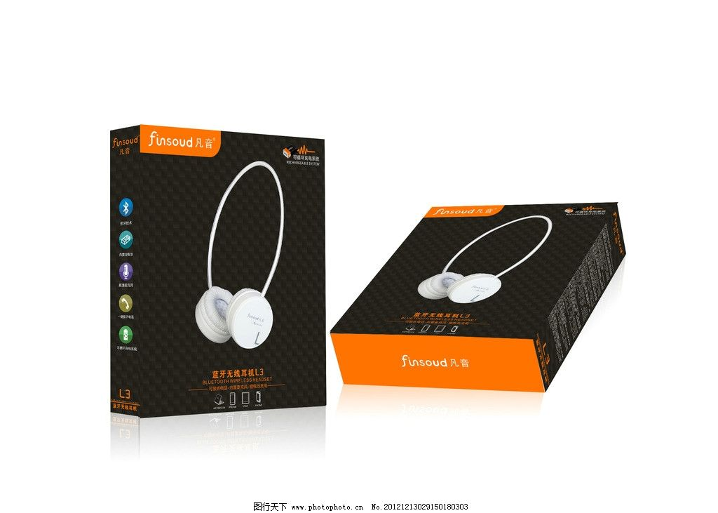 l3蓝牙耳机包装 (展开图) 无线耳机 手机耳机 产品包装 包装设计