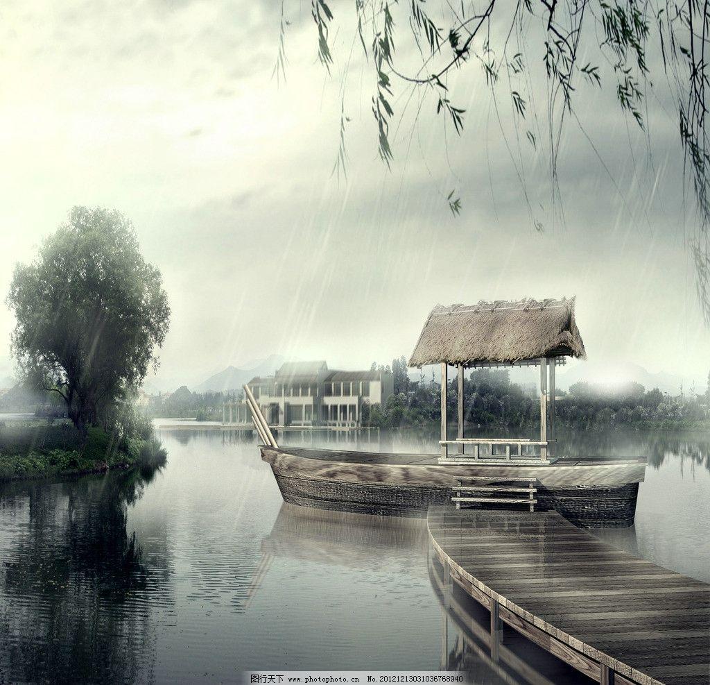古典 古典风景 小桥 树木 山脉 小船 亭子 风景 设计 jpg 其他 广告