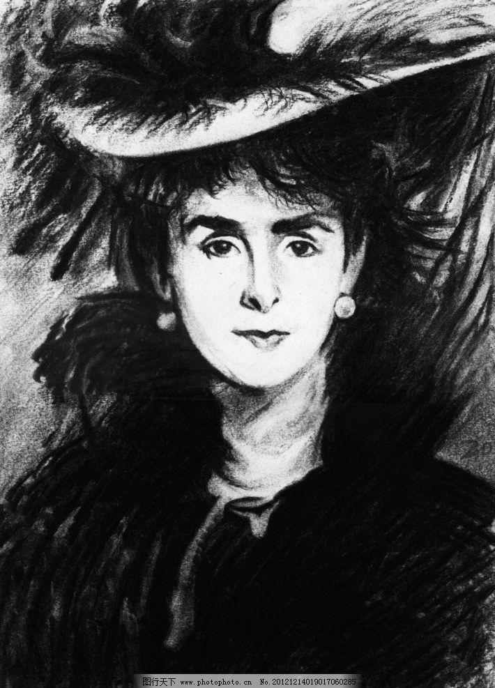 人物素描 素描 贵妇 妇人 人物 画像 绘画 肖像 炭笔画 炭笔素描 绘画