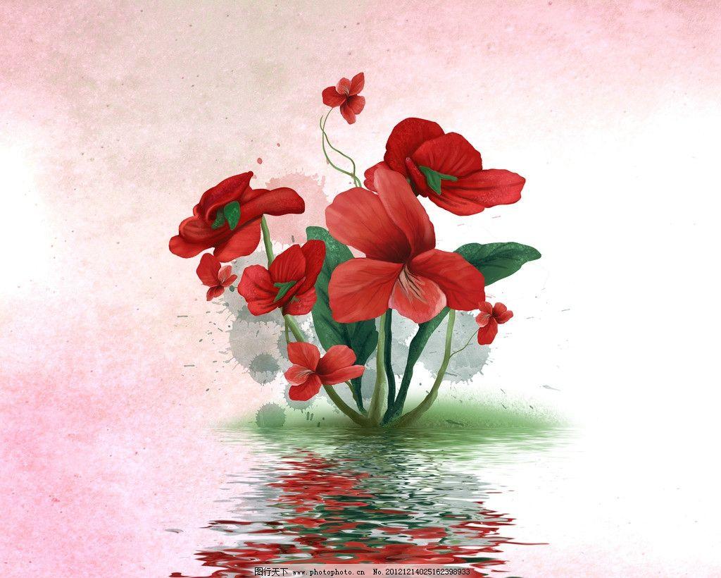 水中花朵 设计图片 生物世界 花花草草 红色花 花朵 水纹 水波 水中