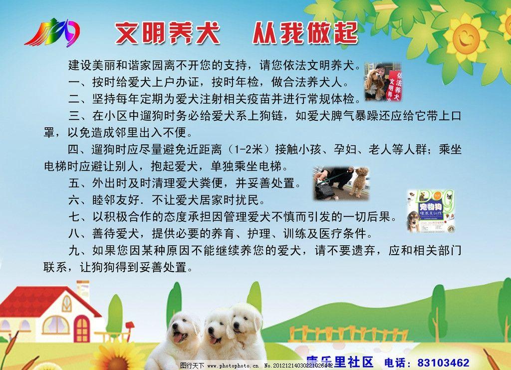 文明养犬展板 展板设计 社区展板 环保展板设计 展板模板 广告设计