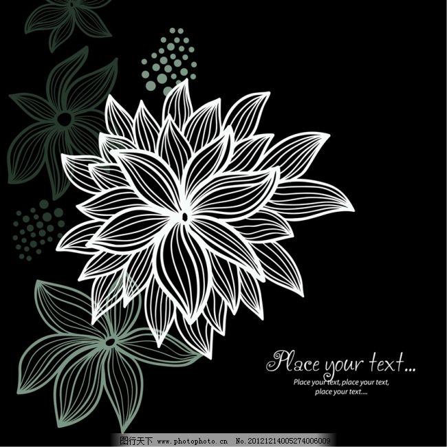矢量线条黑白花朵纹样素材