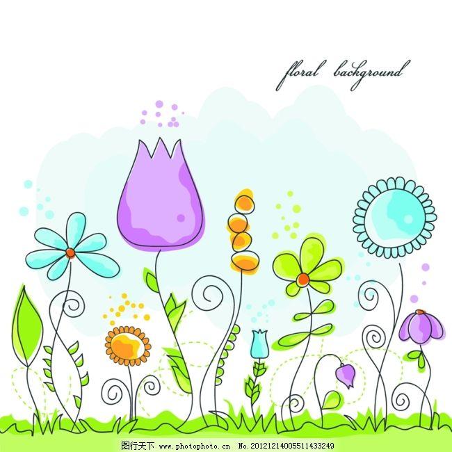 图片素材 线描花卉 线描花卉 画稿 彩绘 花草植物 图片素材 矢量图