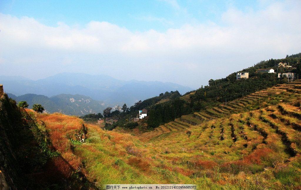 福州青云山 青山 唯美风景 蓝天白云 绿树 小屋 旅游摄影 国内旅游