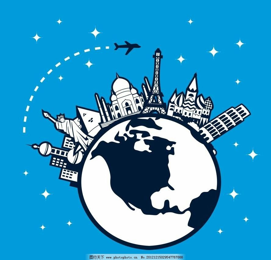 旅游 度假 旅行 地球 全球 出行 出差 时尚 享受 休闲 生活 卡通 插画图片