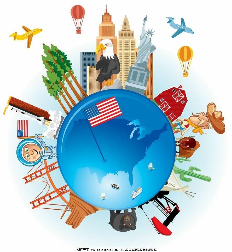 卡通环球旅游背景 飞机 世界名胜 世界各地 自由女神 热气球 卡通动物