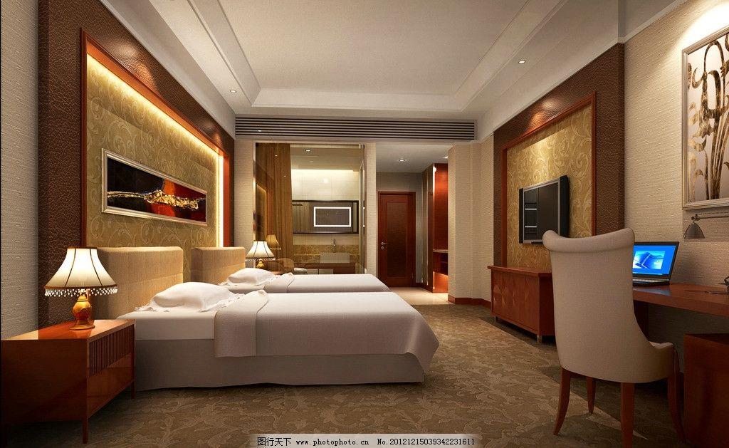 酒店卧室效果图 酒店 套房      床 电脑 椅子 地毯 豪华包间 吊灯 室